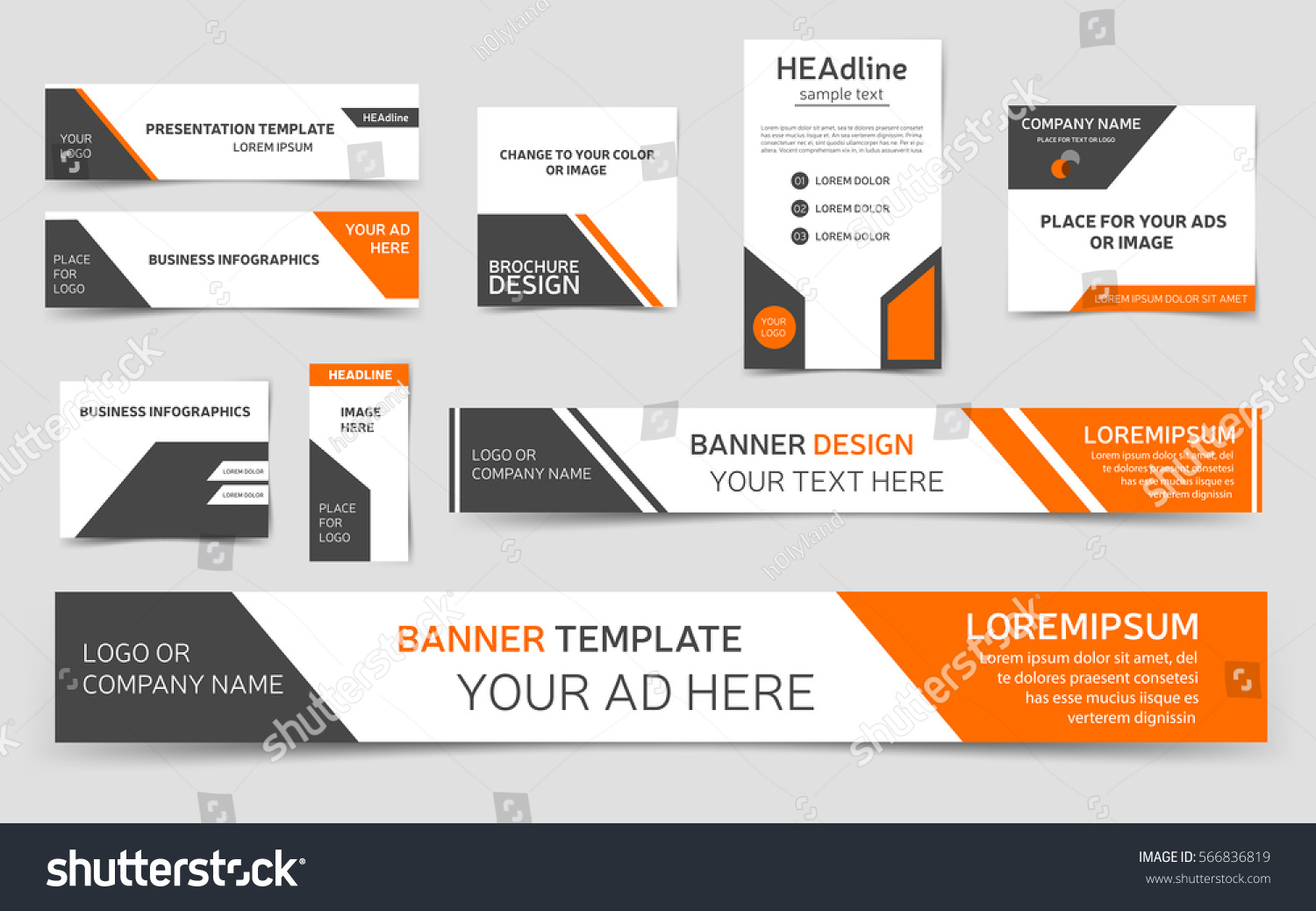 set orange web banners collection banner stock vector royalty free