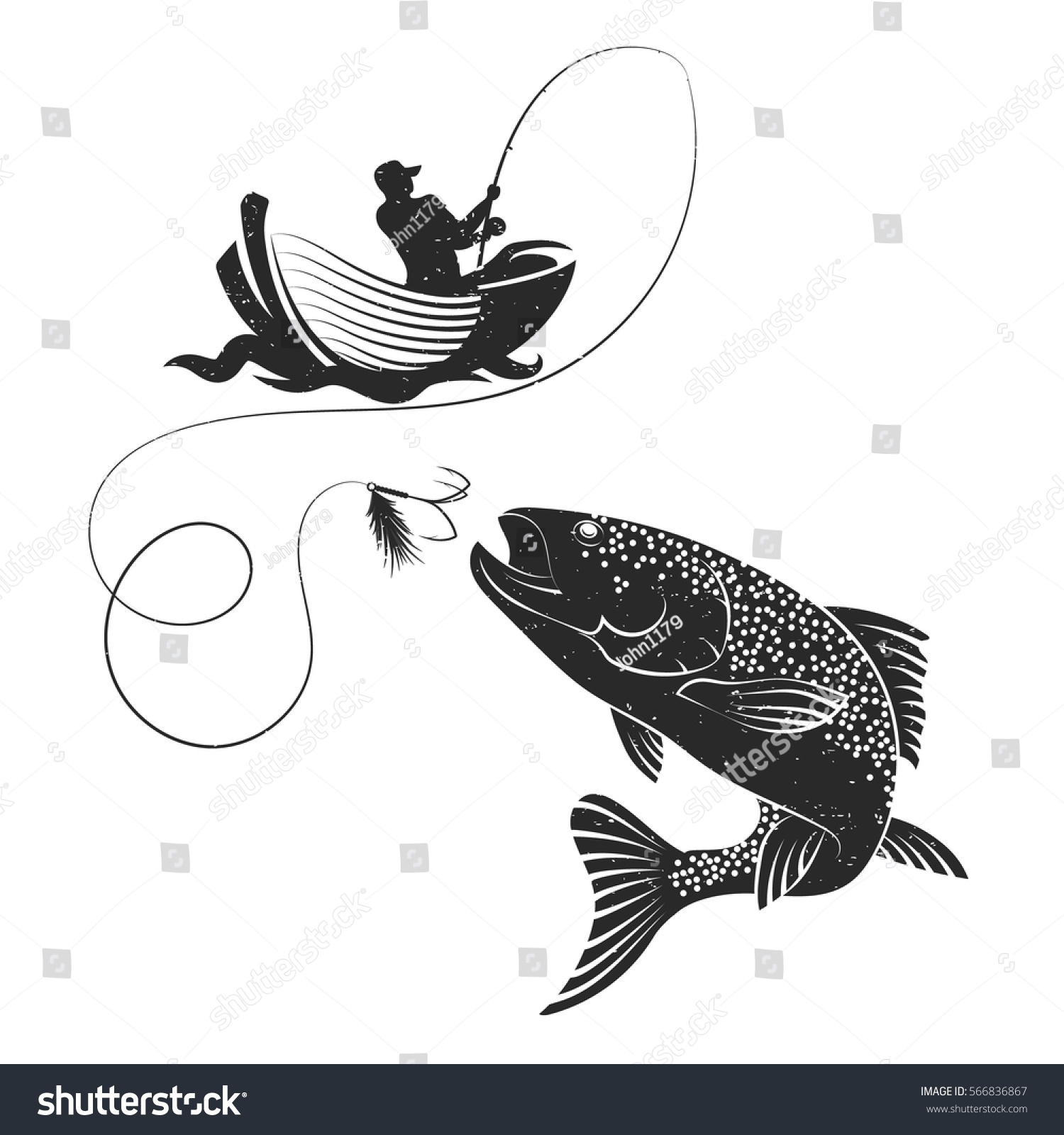 Fisherman Catches Salmon On Boat Silhouette Stock Vector Royalty Free 566836867