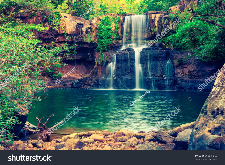 Beautiful Waterfall Hidden Tropical Jungle Surrounded Stock Photo 566844559 Shutterstock