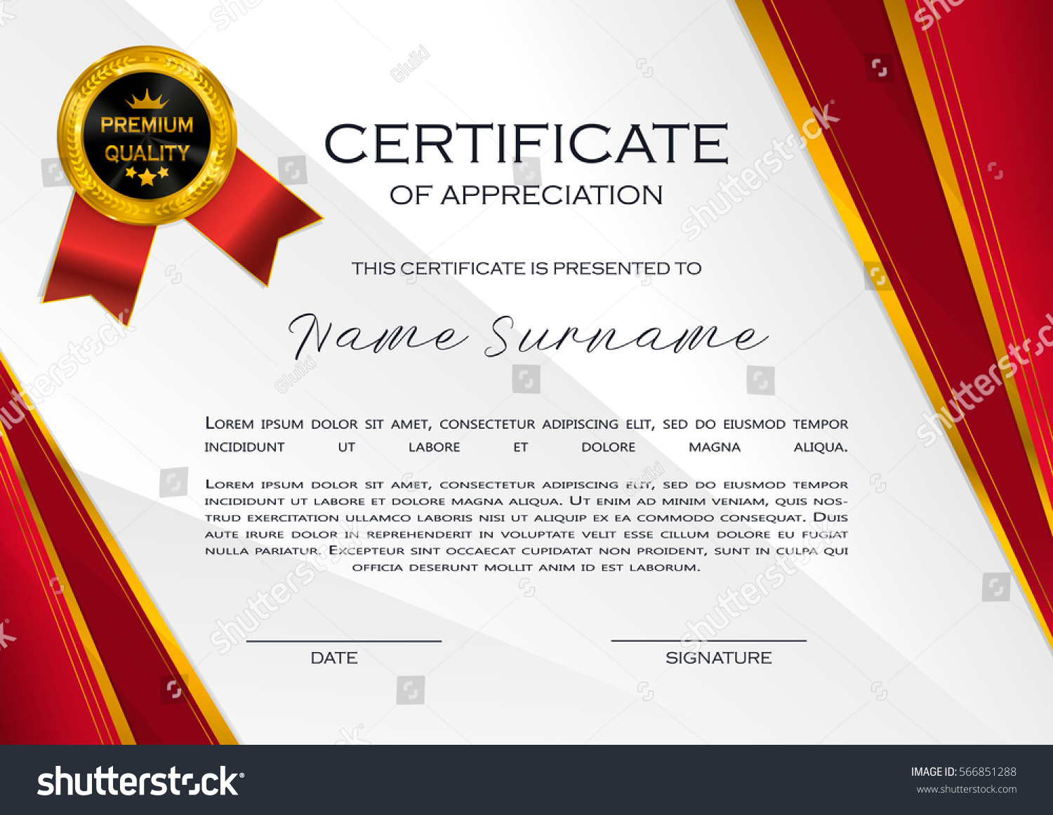 Qualification certificate appreciation design elegant luxury stock qualification certificate of appreciation design elegant luxury and modern pattern best quality award template yadclub Images