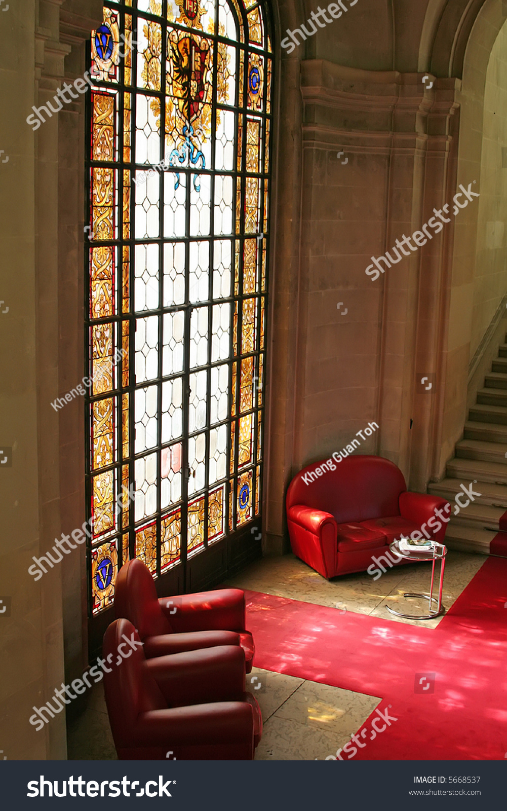 Sofas Waiting Area Stained Glass Window Stock Photo 5668537 ...