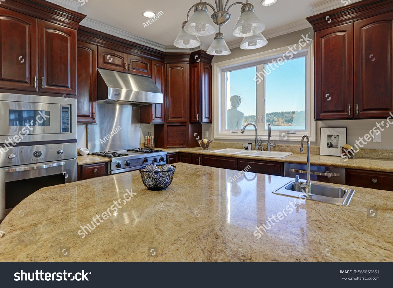 Warm Inviting Kitchen Large Kitchen Island Stock Photo (Edit ...