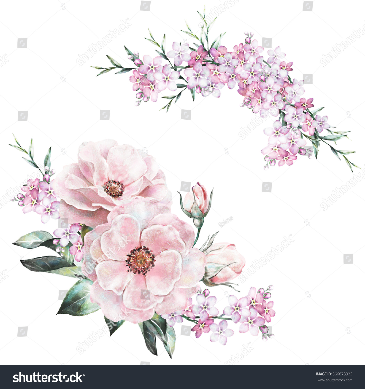 Watercolor flowers floral illustration pastel colors stok watercolor flowers floral illustration in pastel colors rose bunch of pink flowers isolated izmirmasajfo