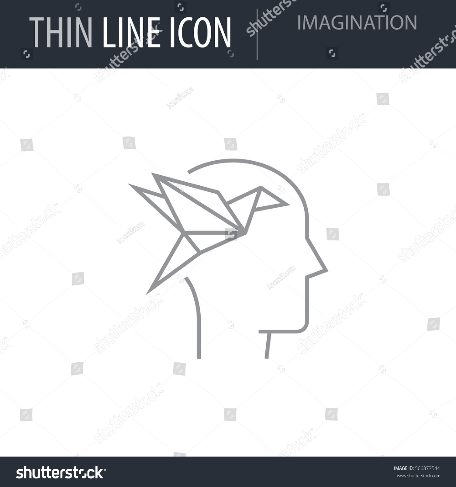 Symbol Imagination Thin Line Icon Icons Stock Vector Royalty Free