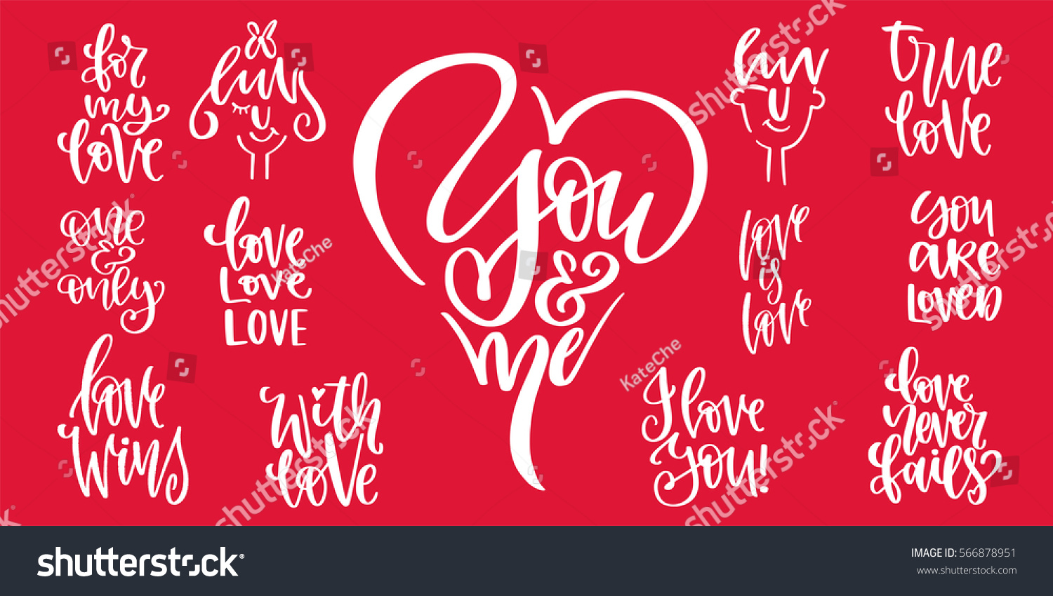 Set Romantic Handwritten Quotes Messages Valentines Stock Vector