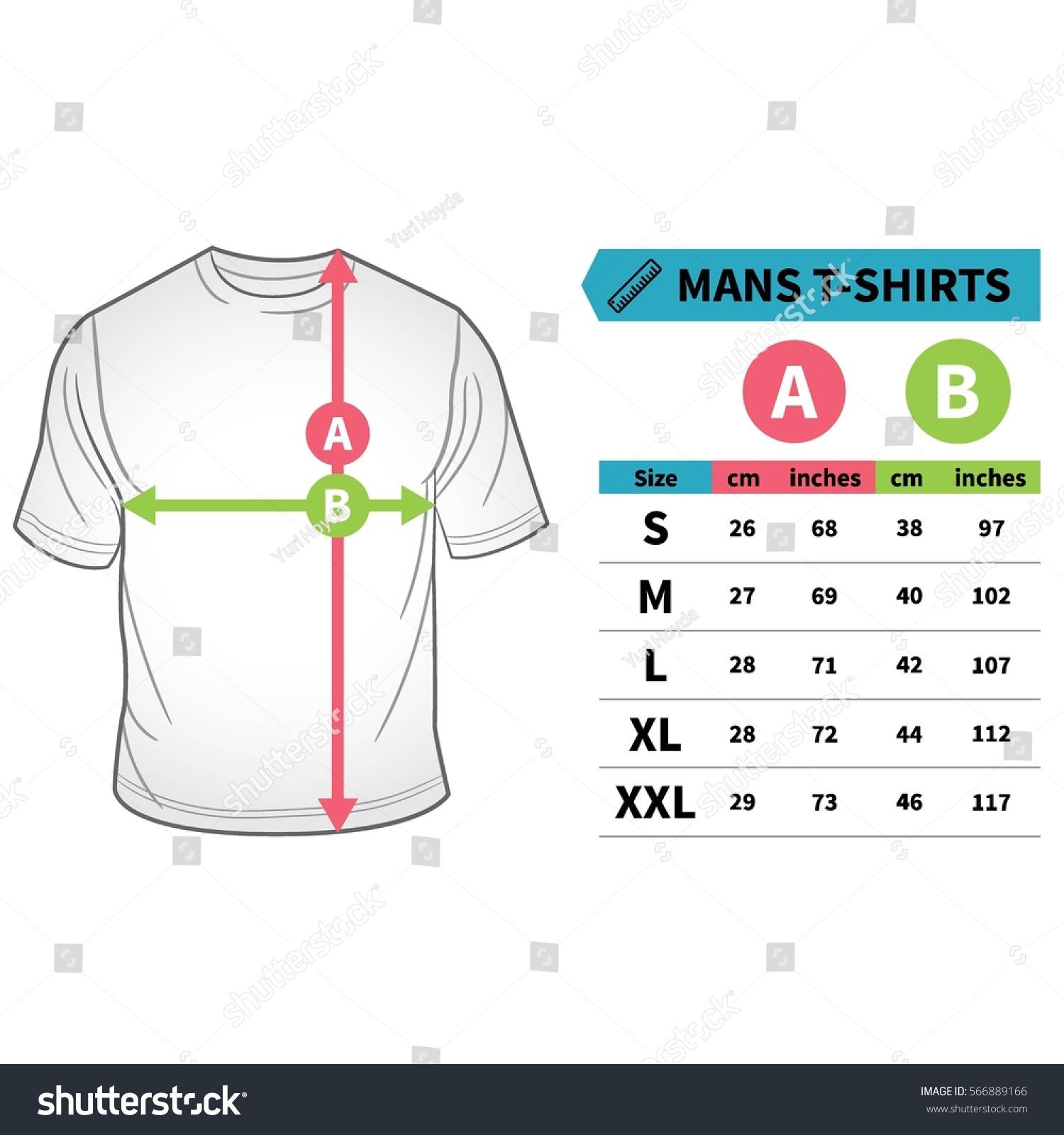 Mens Tshirts Polo Shirts Size Guide Stock Vector (Royalty Free ...