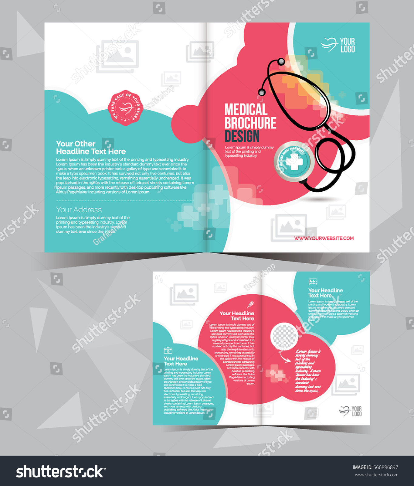 A 4 Medical Brochure Layout Template Design Stock Vector Royalty