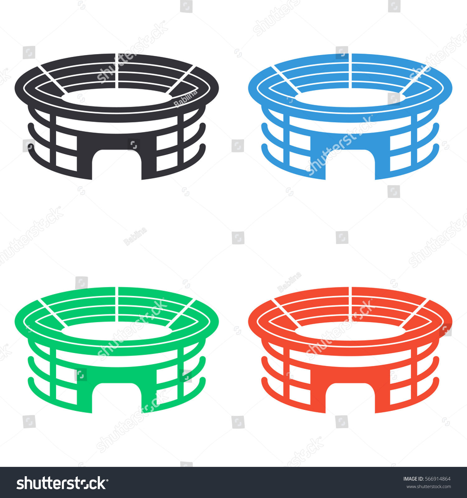 stadium icon. Stadium Icon - Colored Vector Set