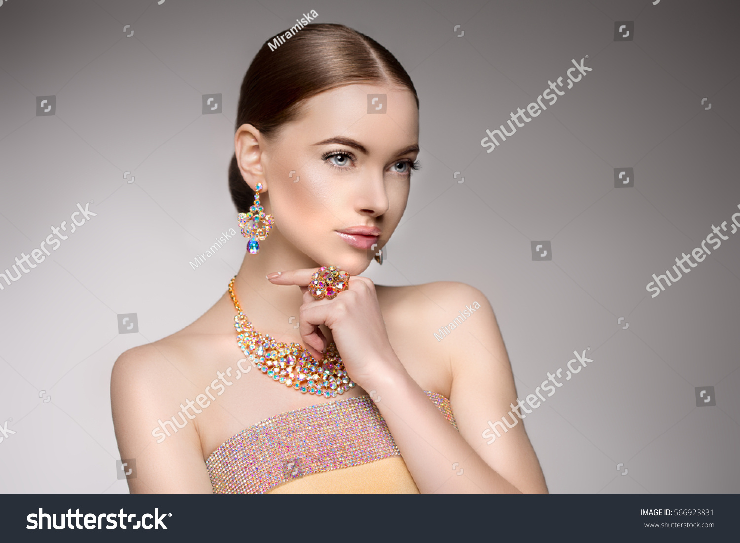 luxury stock woman with ay earrings photo depositphotos