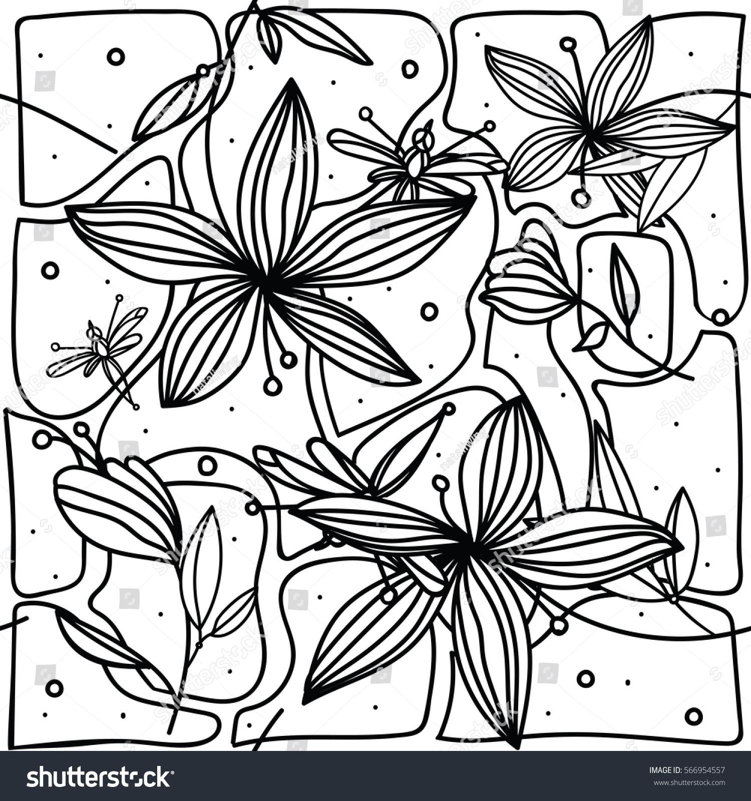 Handdrawing seamless pattern flower lily dragonfly stock vector hand drawing seamless pattern with flower lily and dragonfly on white background izmirmasajfo