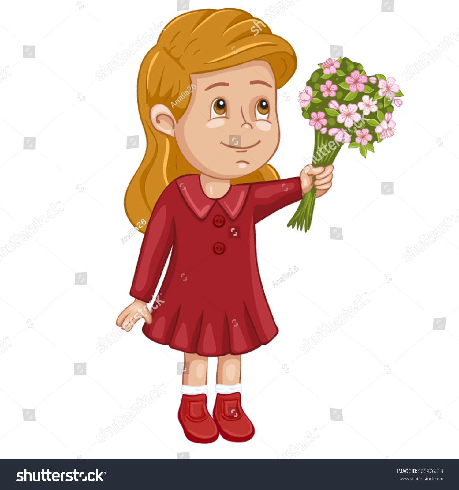 Illustration cute girl beautiful bouquet flowers stock vector illustration of a cute girl with a beautiful bouquet of flowers izmirmasajfo