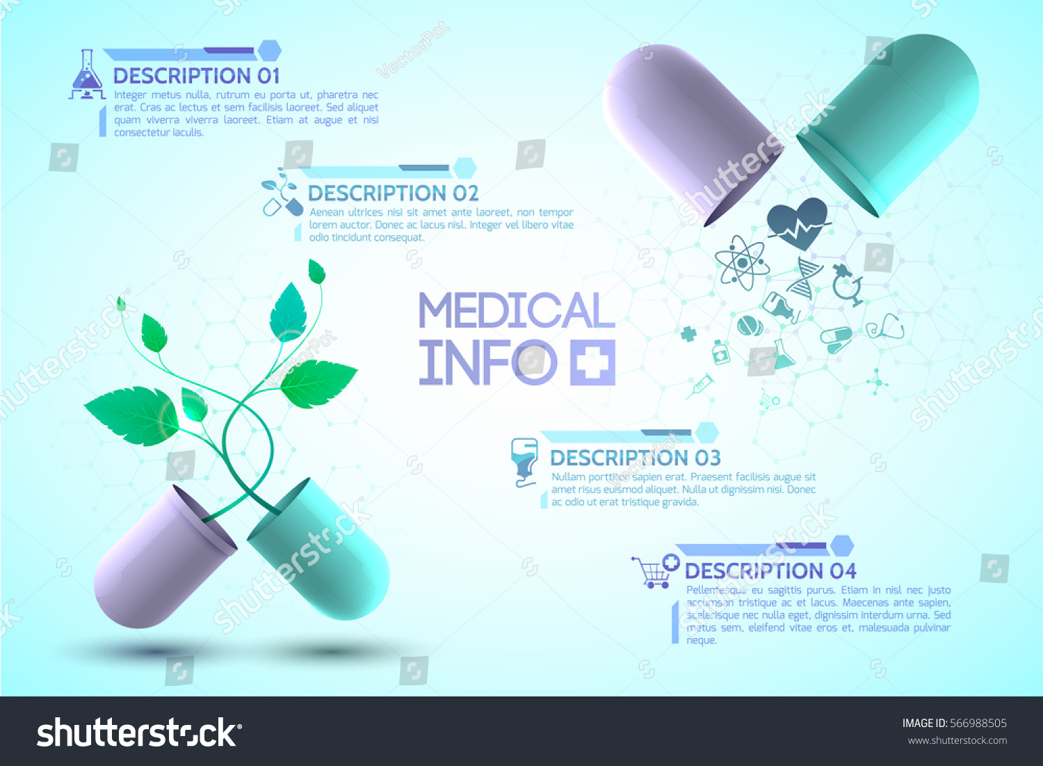 Poster design medical - Medical Info Poster With Medication And Treatment Symbols Realistic Vector Illustration
