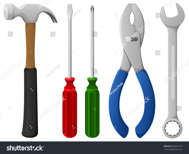 Vector Illustration Hammer: Vector Illustration Variety Hand Tools Hammer Stock Vector