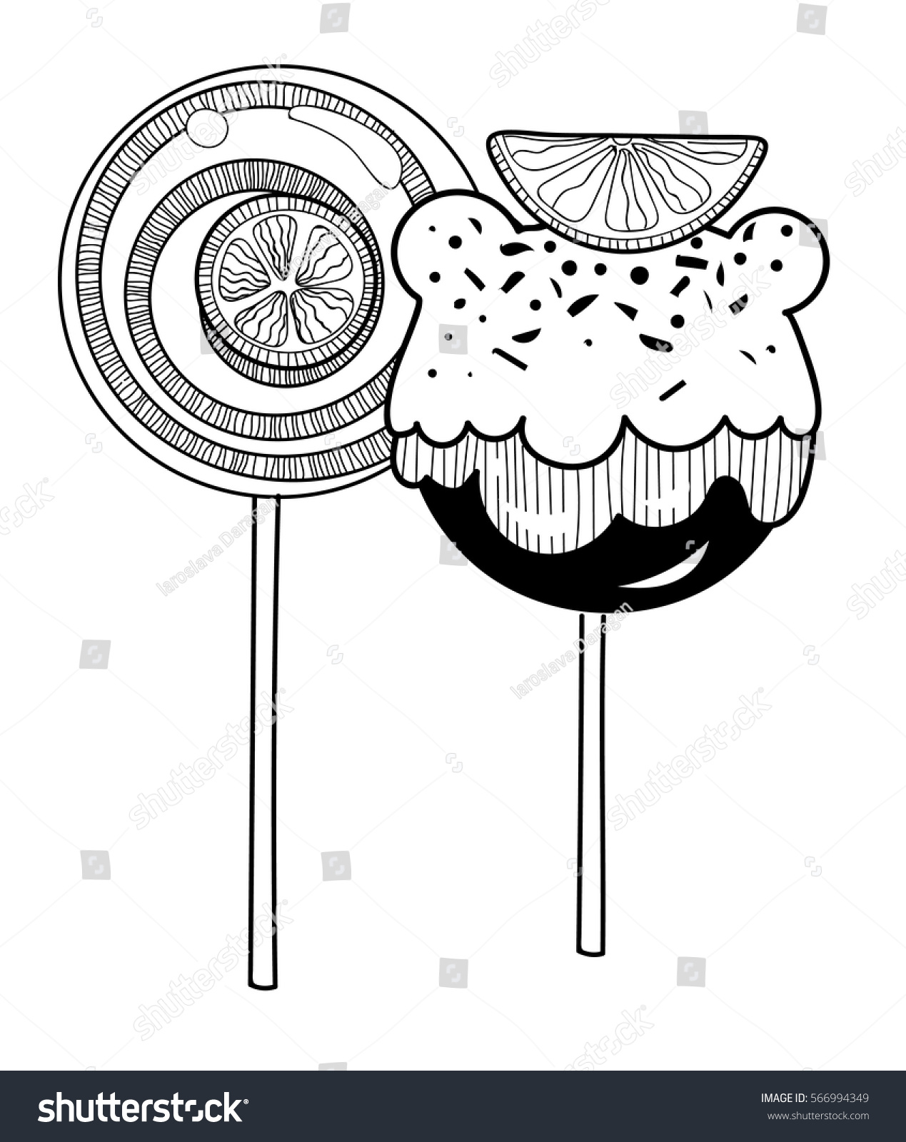 Vector Black White Candies Lollipop Stock Vector 566994349 ... for Clipart Lollipop Black And White  61obs