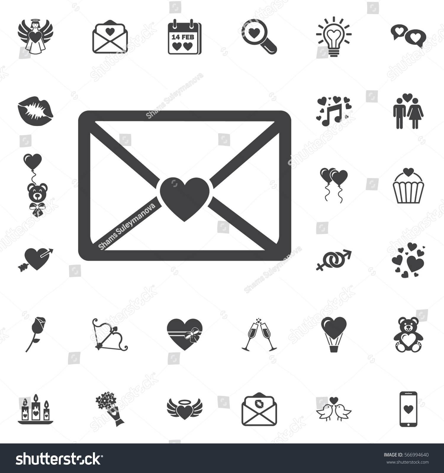 icon email heard love letter sing stock vector 566994640 shutterstock