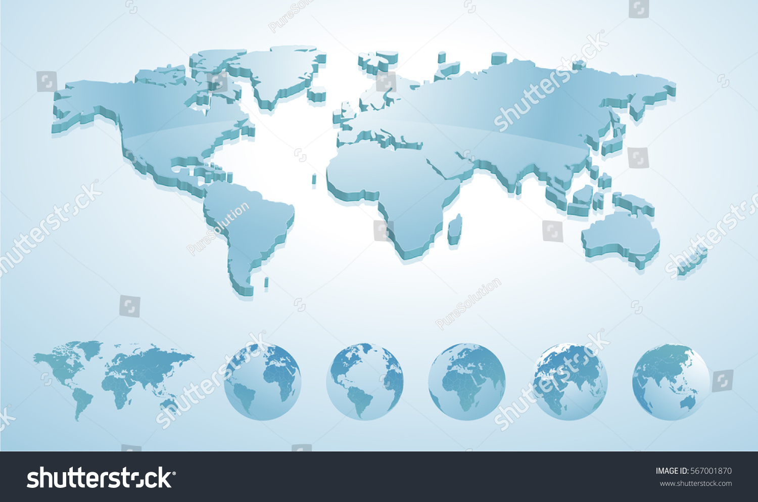 3d world map illustration earth globes stock vector hd royalty free 3d world map illustration with earth globes showing all continents vector illustration template for website gumiabroncs Image collections