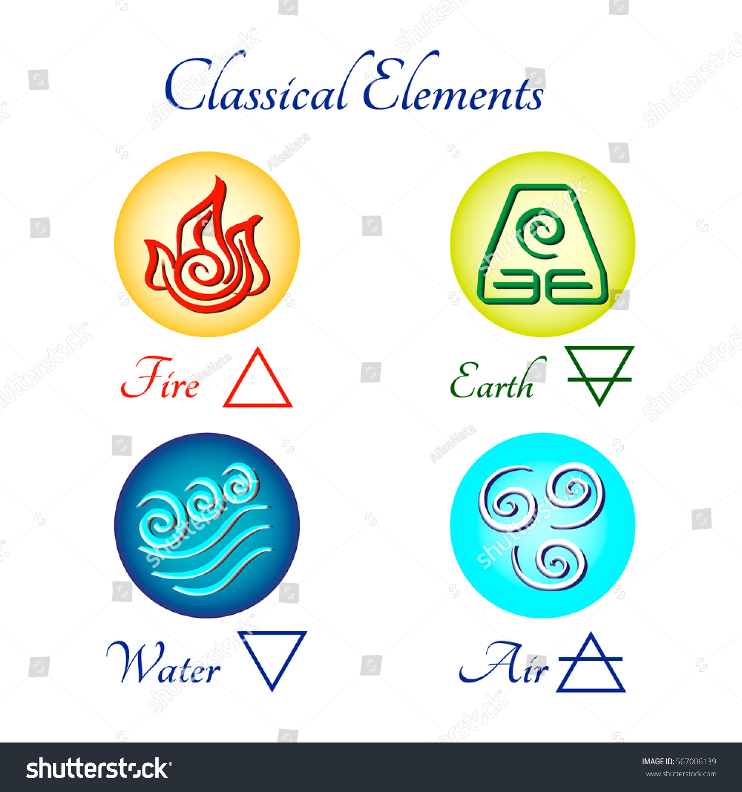 Set Multicolored Icons Classical Elements Fire Stock Vector Royalty