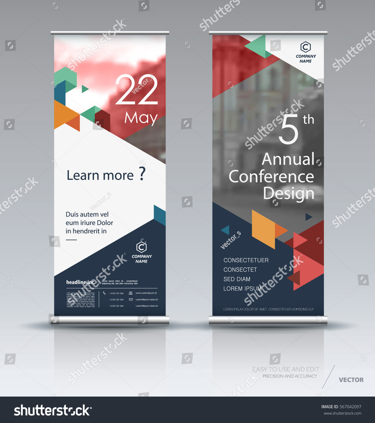 Modern Exhibition Stand Vector : Roll banner design brochure flyer vertical stock vector