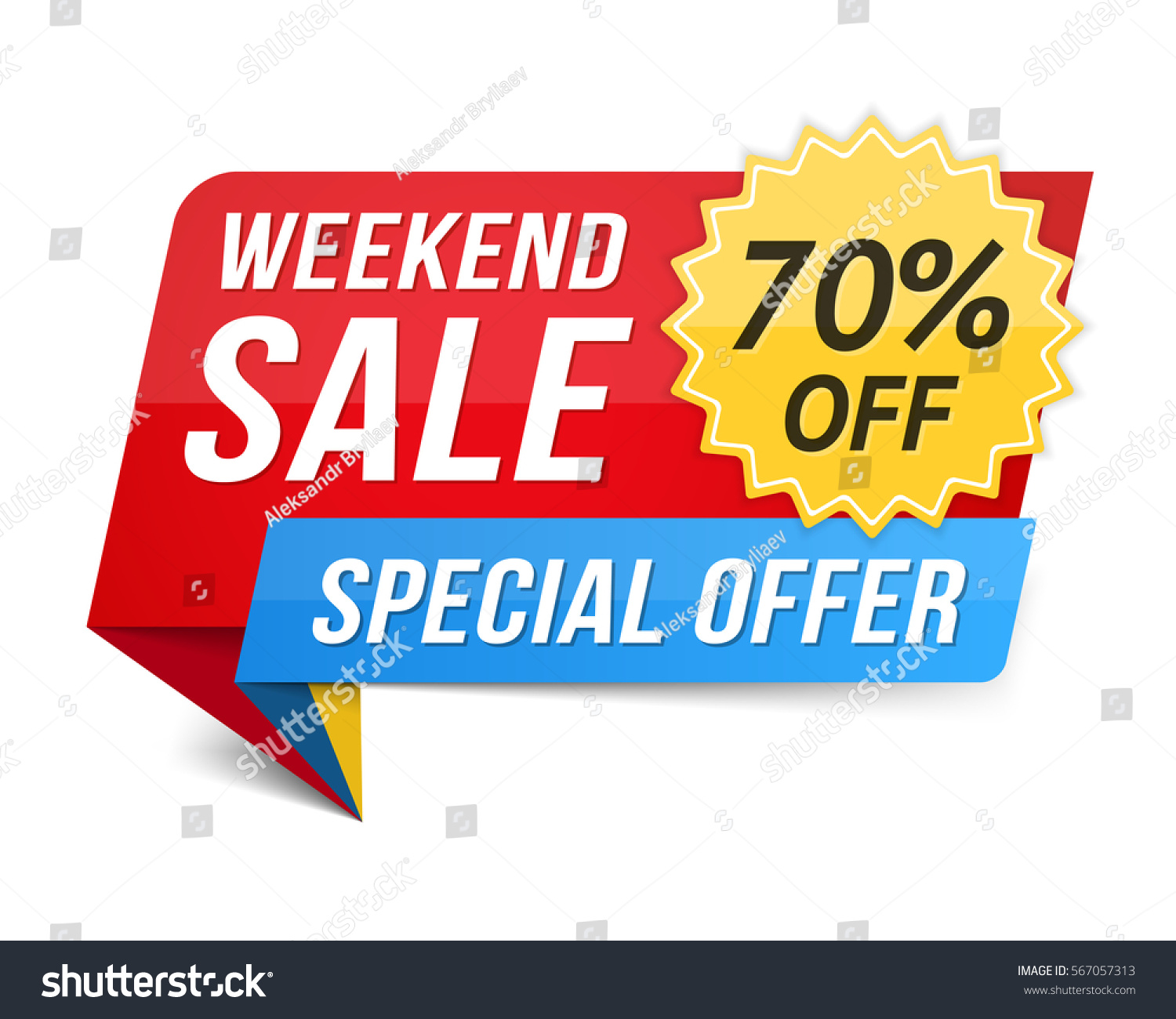 Weekend Discount: Weekend Sale Banner Special Offer 70 Stock Vector