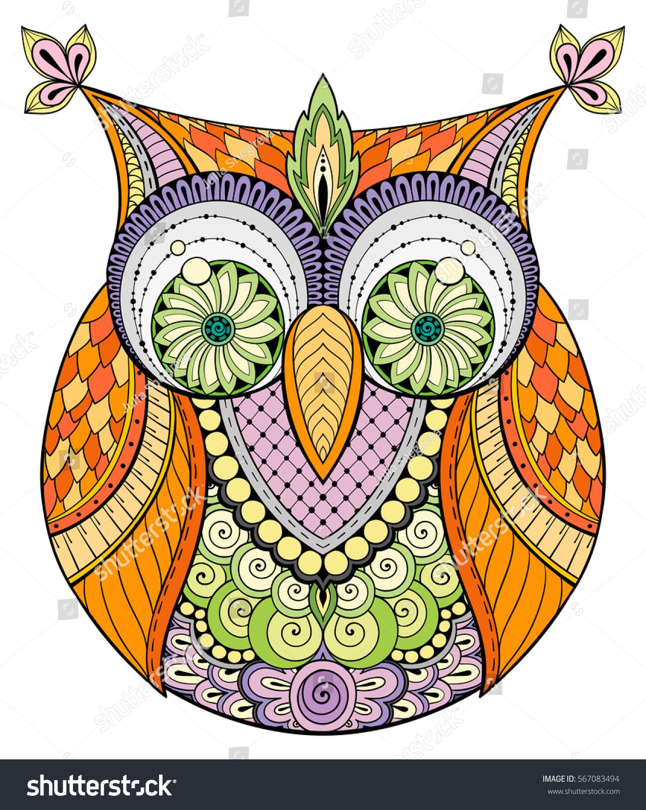 Birds Theme Owl Black White Mandala Stock Vector Royalty Free