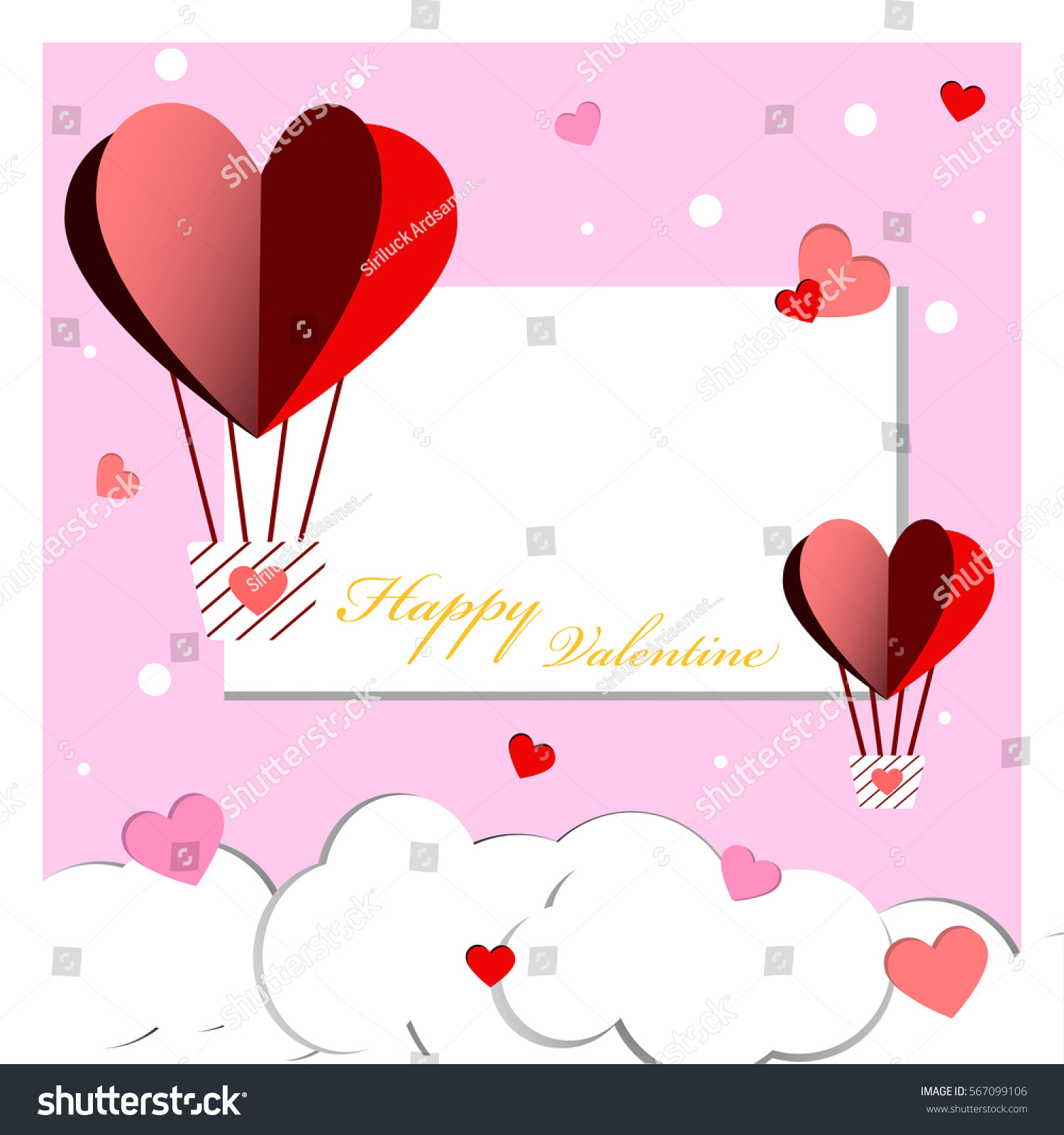 Heart Balloon and Snow of Happy Valentine Day.Pink Background. #567099106