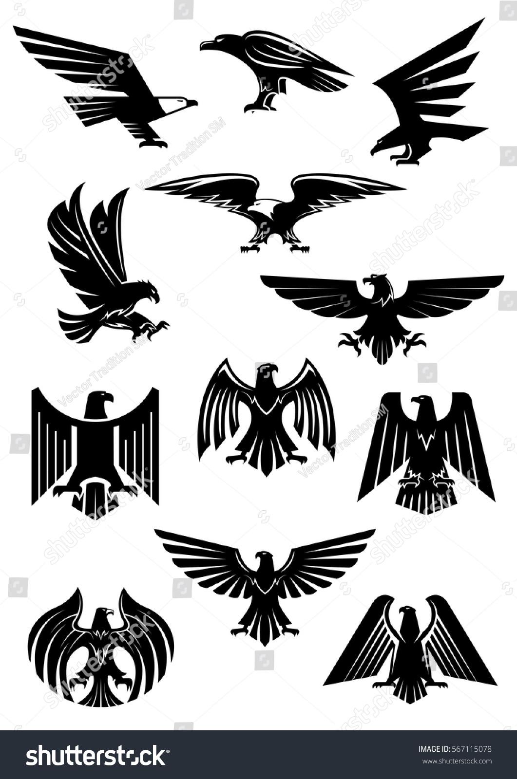 Heraldic Eagle Hawk Falcon Black Birds Stock Vector ...