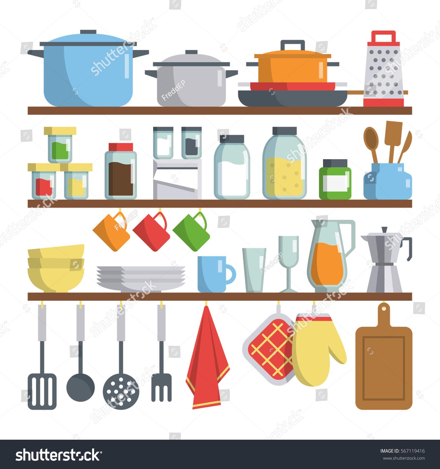 Kitchen Equipment Clip Art ~ Set vector kitchen equipments on shelf stock