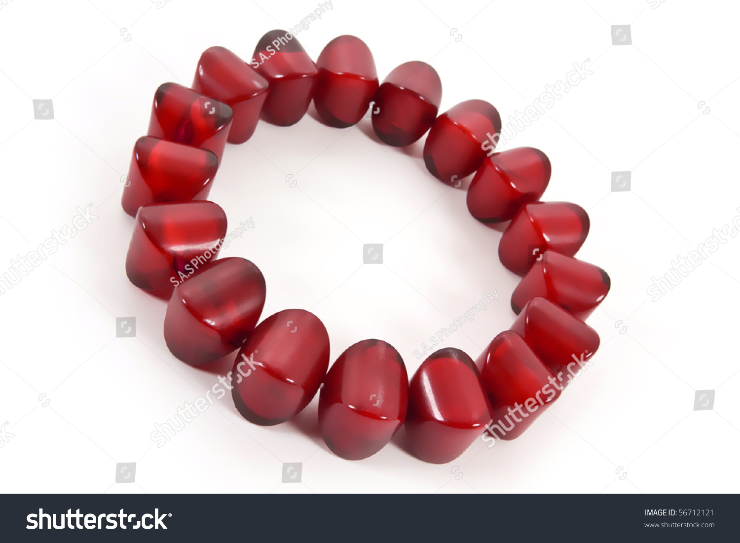 Red Glass Stone : Red glass and stone bracelet stock photo