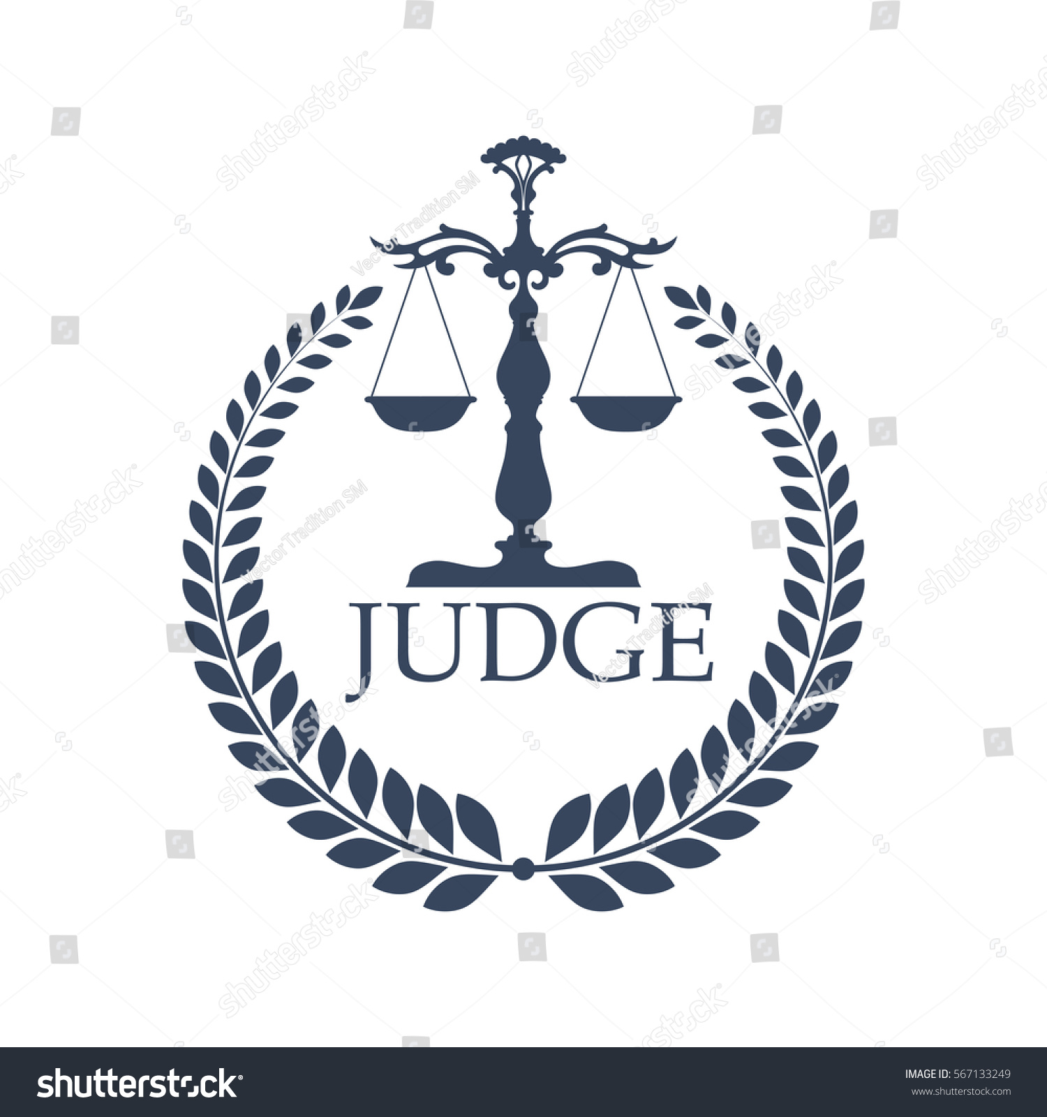 Laurel wreath judge scales lady justice stock vector 567133249 lady justice or justitia attribute logo or criminal punishment icon biocorpaavc Choice Image