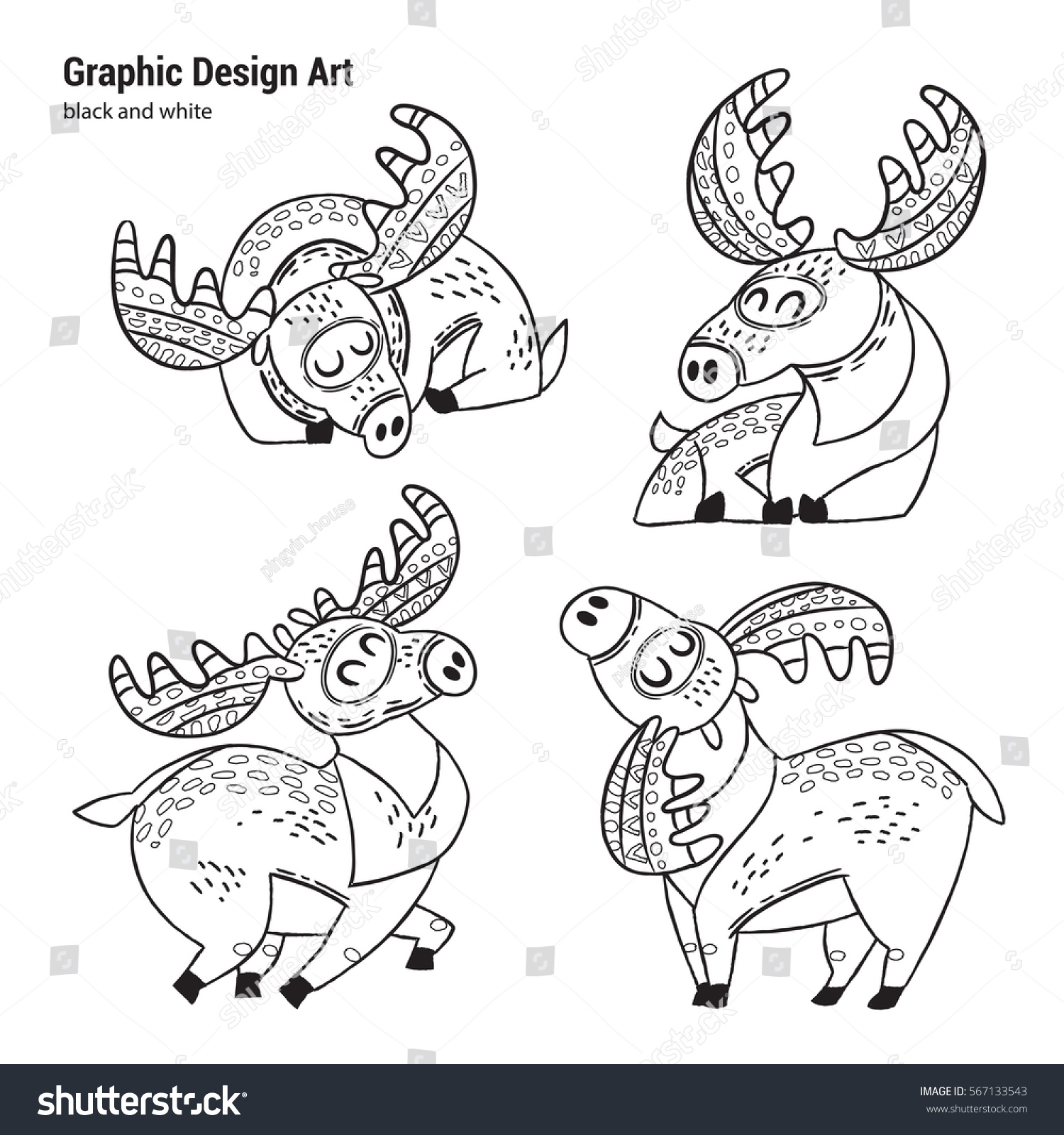 Set Cartoon Moose Coloring Pages Art Stock Vector