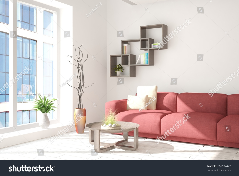 White Room Red Sofa Urban Landscape Stock Illustration 567134422 ...