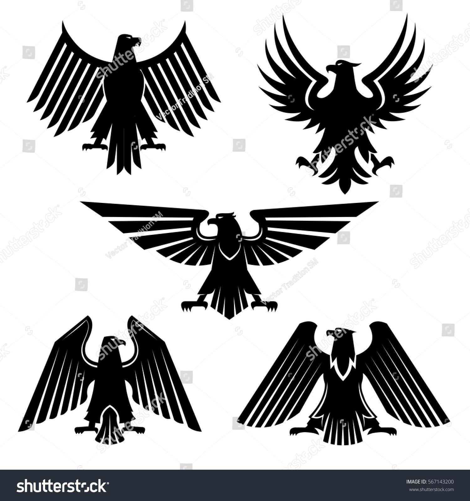 Heraldic Eagle Bird Prey Set Icons Stock Vector Royalty Free 567143200