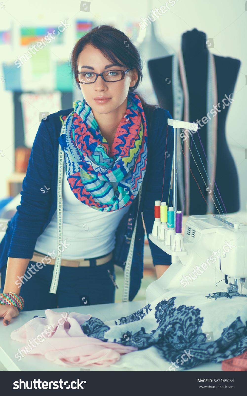 Beautiful Young Fashion Designer Standing Studio Stock Photo 567145084 Shutterstock