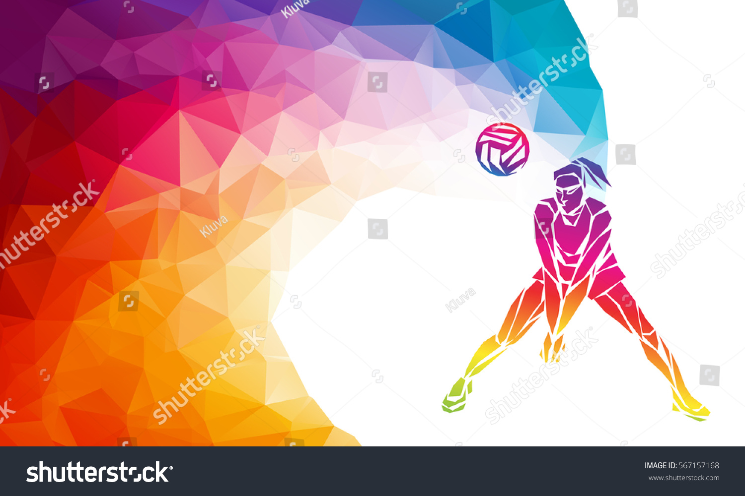 Illustration Abstract Volleyball Player Silhouette: Creative Silhouette Volleyball Player Receiving Ball Stock