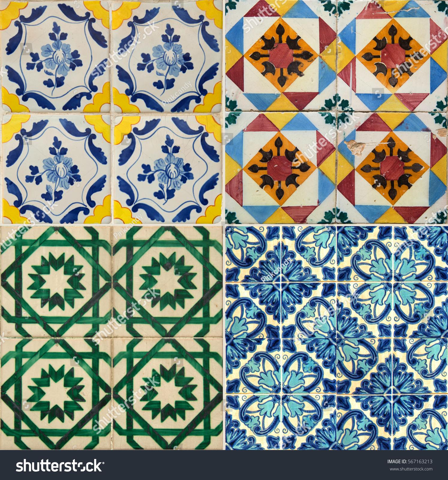 Collage Four Different Colors Ceramic Tiles Stock Photo (Edit Now ...