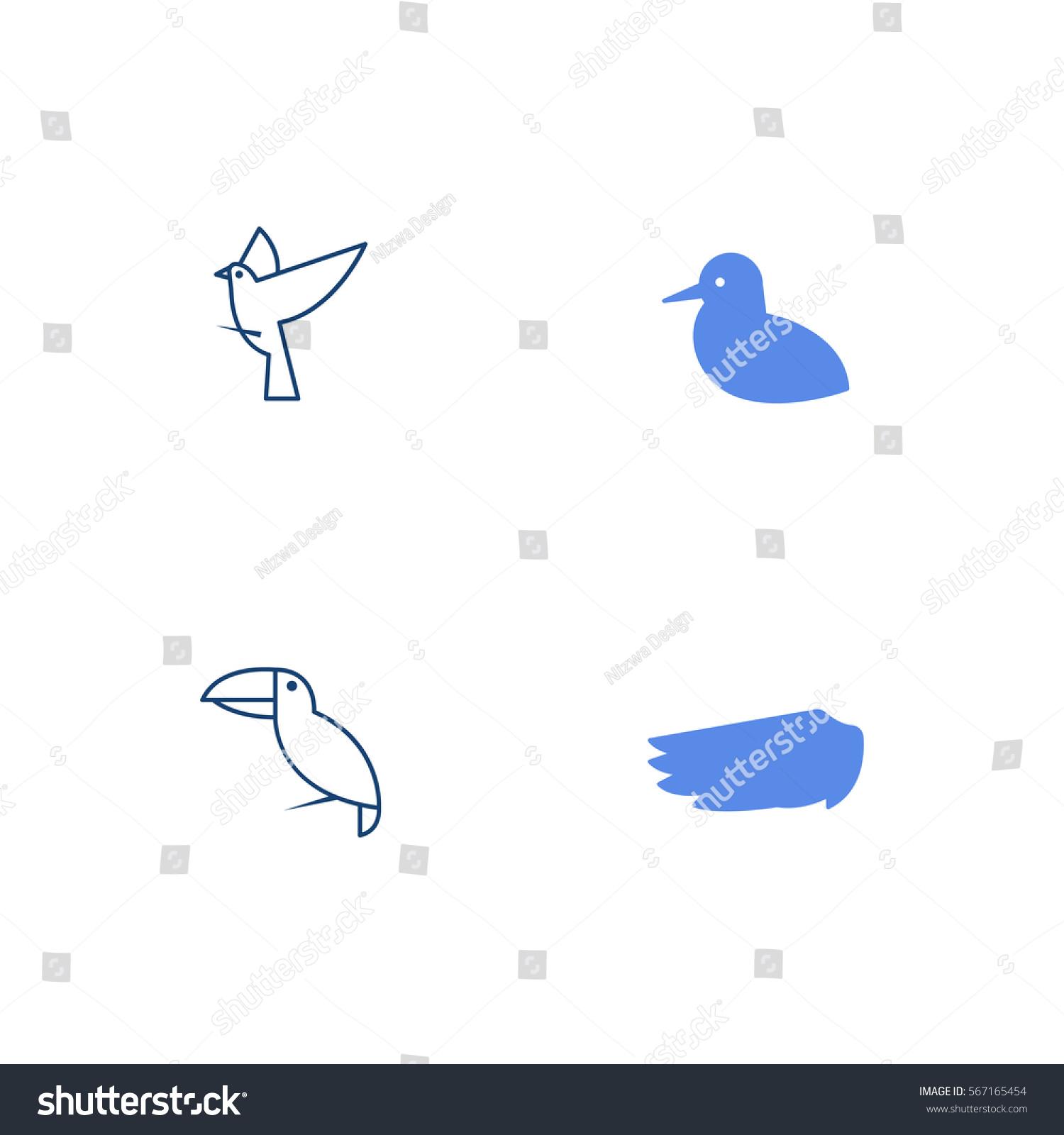 Bird Silhouette Line Art Icon Logo Stock Vector 567165454