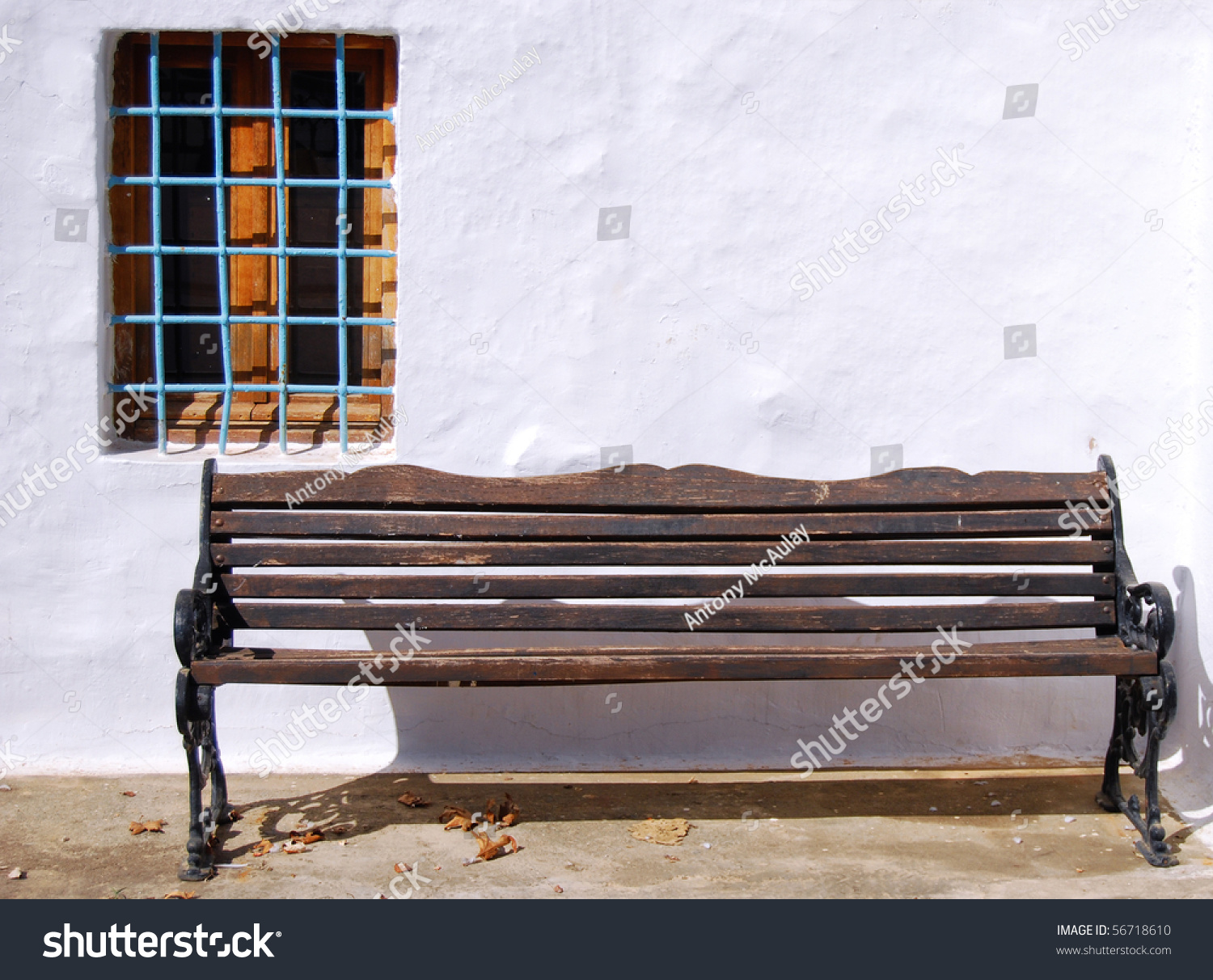 Old Weathered Wooden Bench Against White Stock Photo