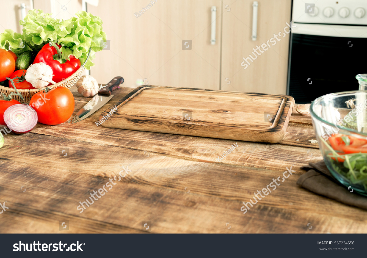 Kitchen Table Ingredients Cooking Healthy Food Stock Photo