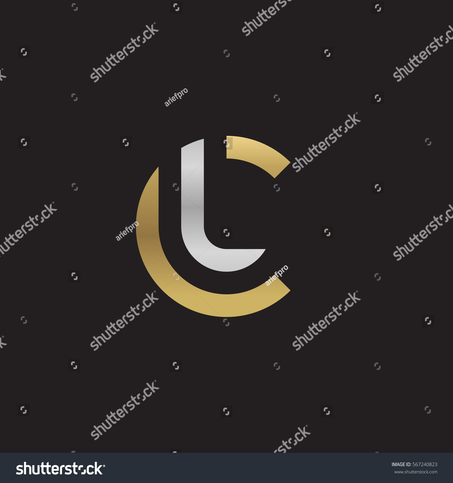 Tj initial luxury ornament monogram logo stock vector - Initial Letter Logo Cl Lc L Inside C Rounded Lowercase Logo Gold Silver