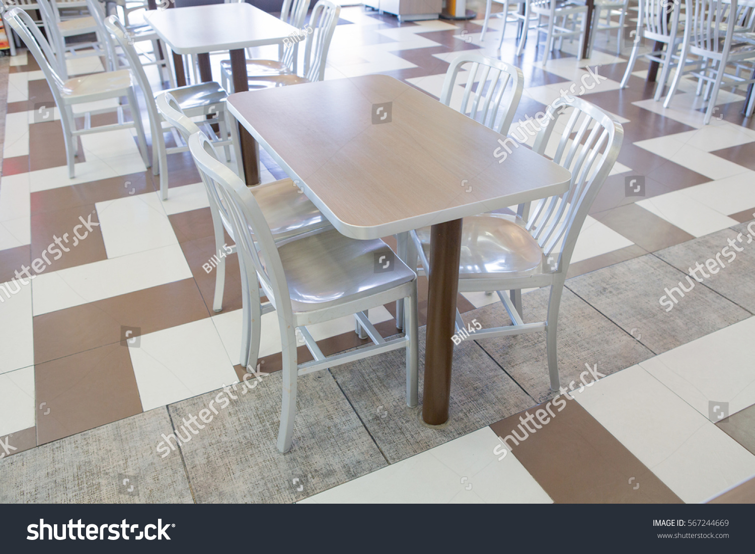 Pleasing Set Modern Silver Wooden Table Chairs Stock Photo Edit Now Machost Co Dining Chair Design Ideas Machostcouk
