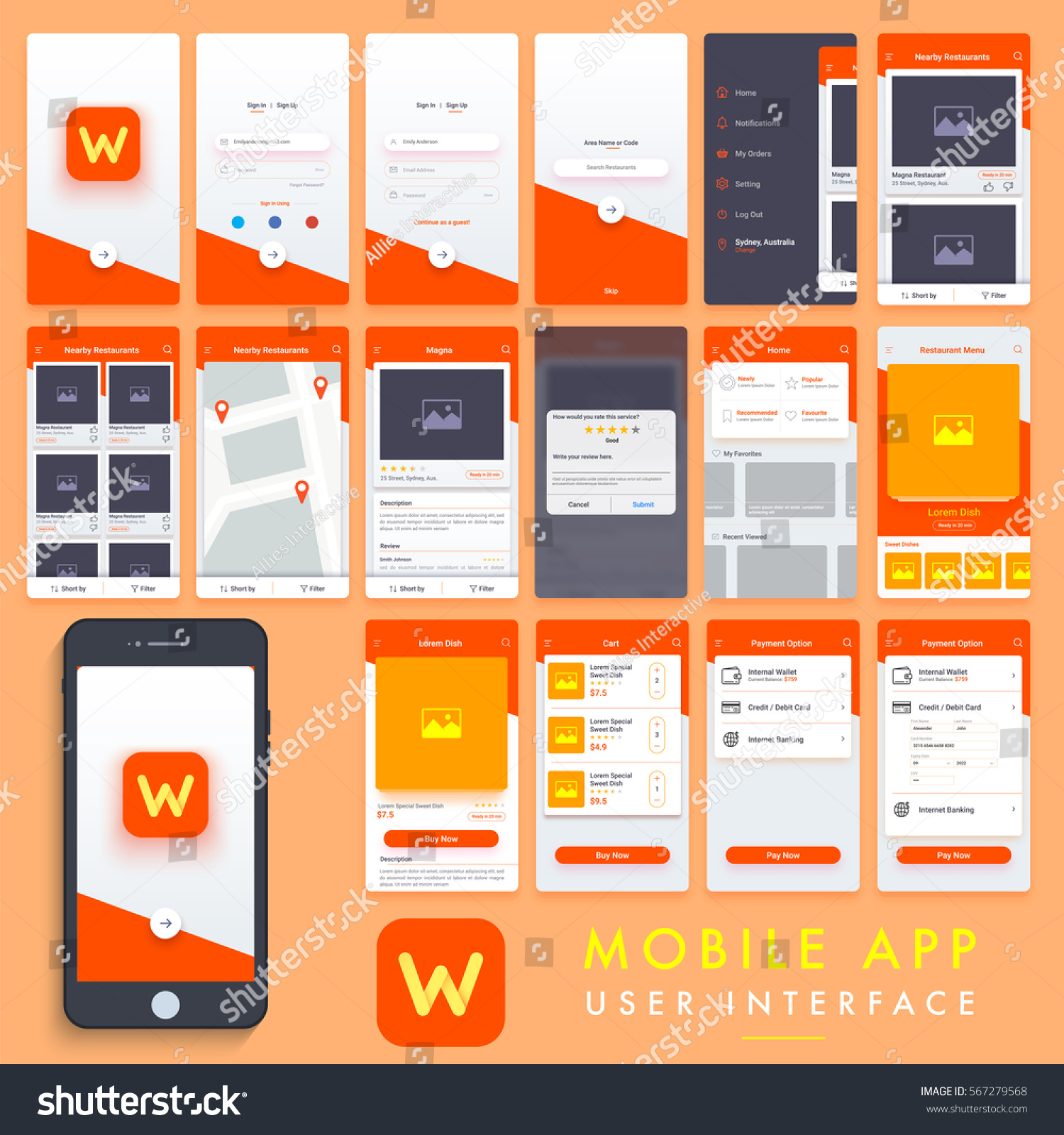 Search mobile apps material design ui stock vector