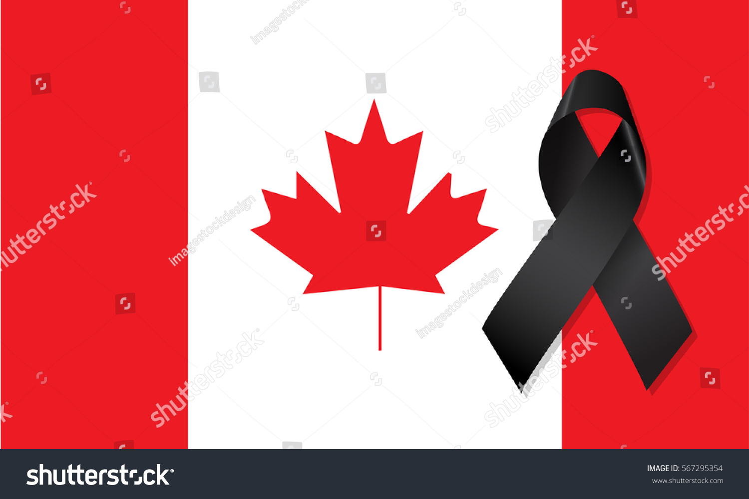 canada flag black ribbon mourning sign stock vector 567295354