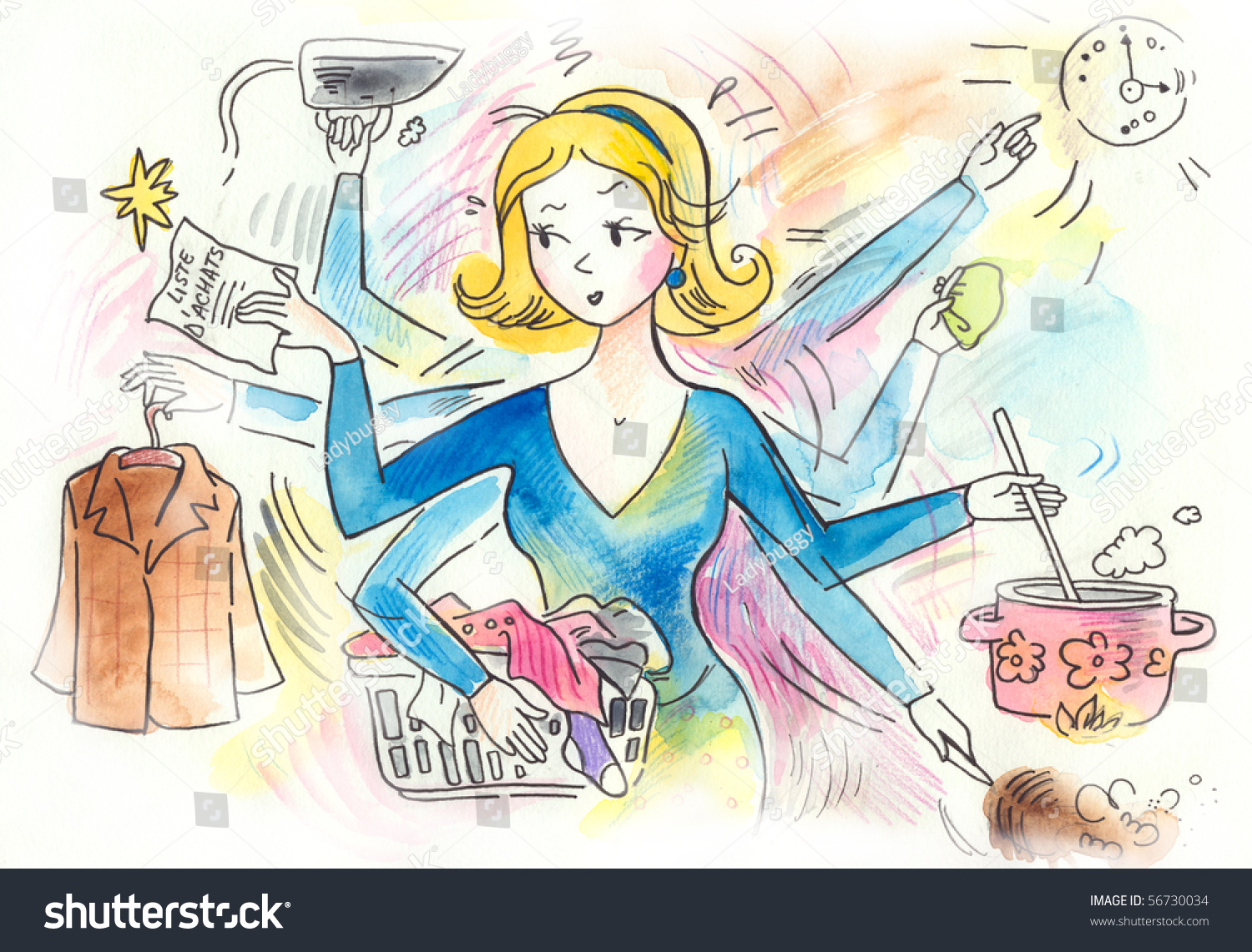 Typical Woman That Has Lots Chores Stock Illustration ...