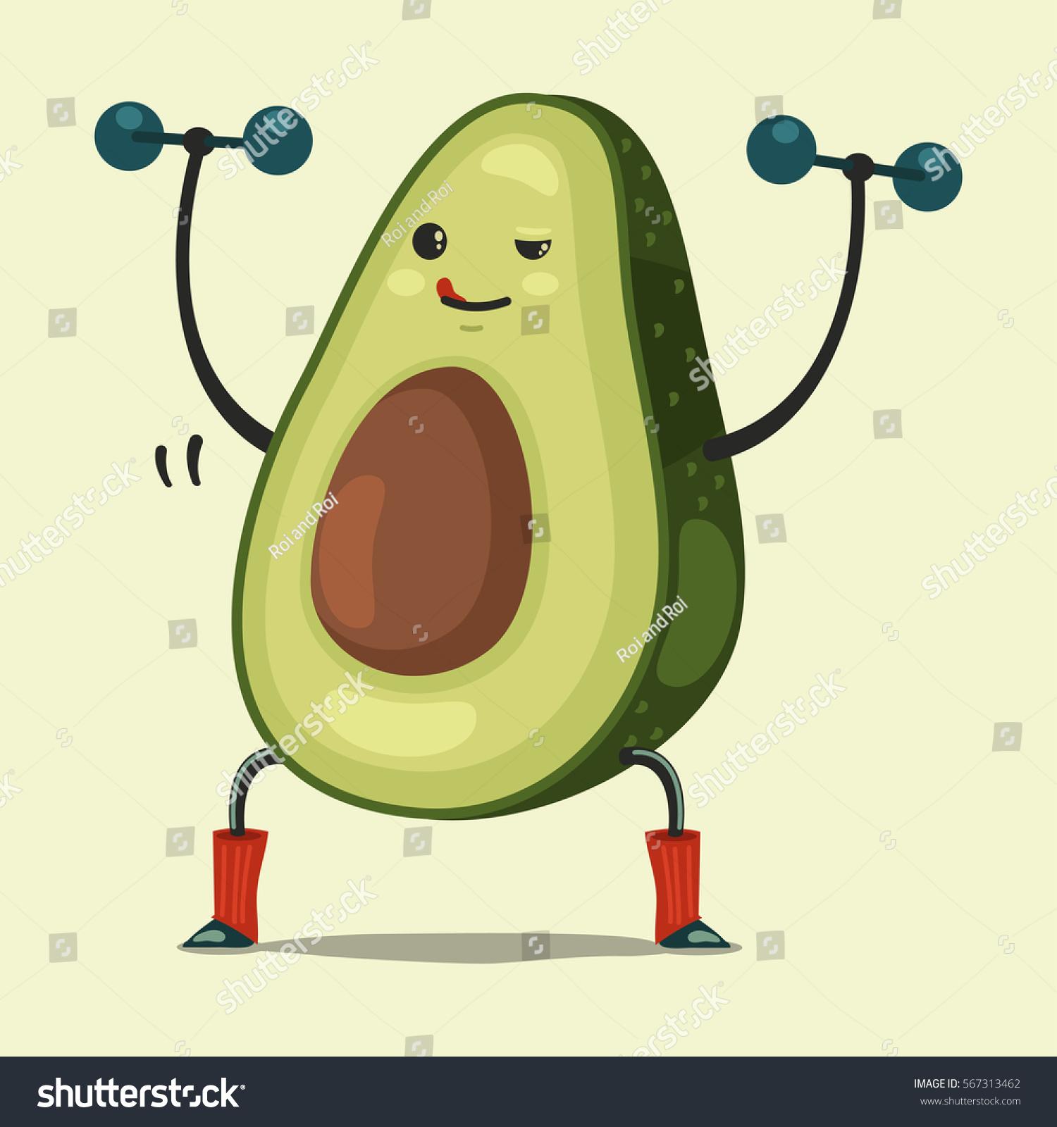 Cute Avocado Cartoon Character Doing Exercises Stock