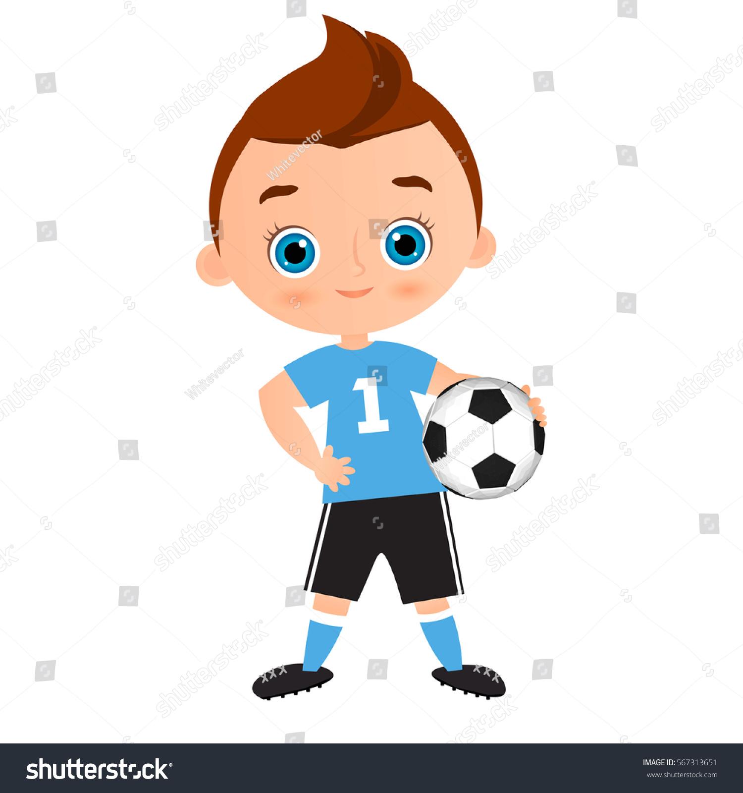 Little Kids Playing Football Cartoon