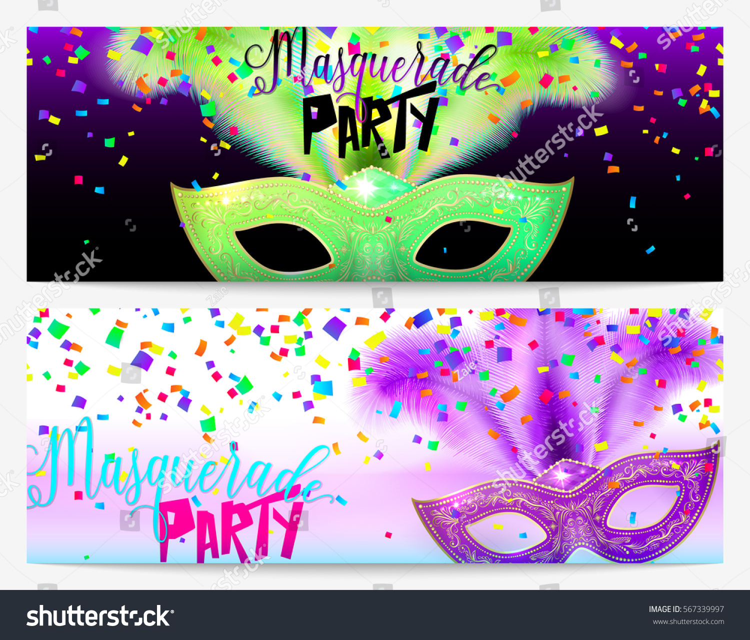 Vector Illustration Two Masquerade Party Invitation Stock Vector ...