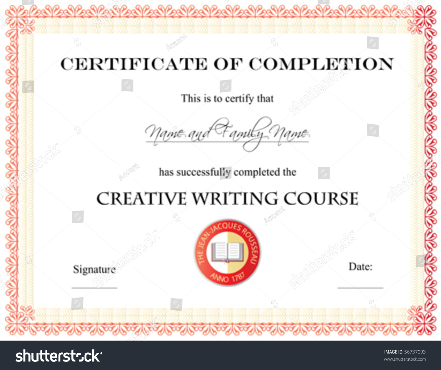 Vector certificate completion template 56737093 vector certificate of completion template yelopaper