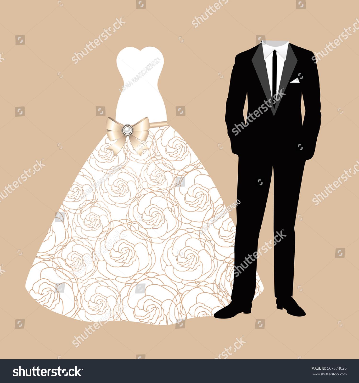Wedding Card Clothes Bride Groom Beautiful Stock Vector
