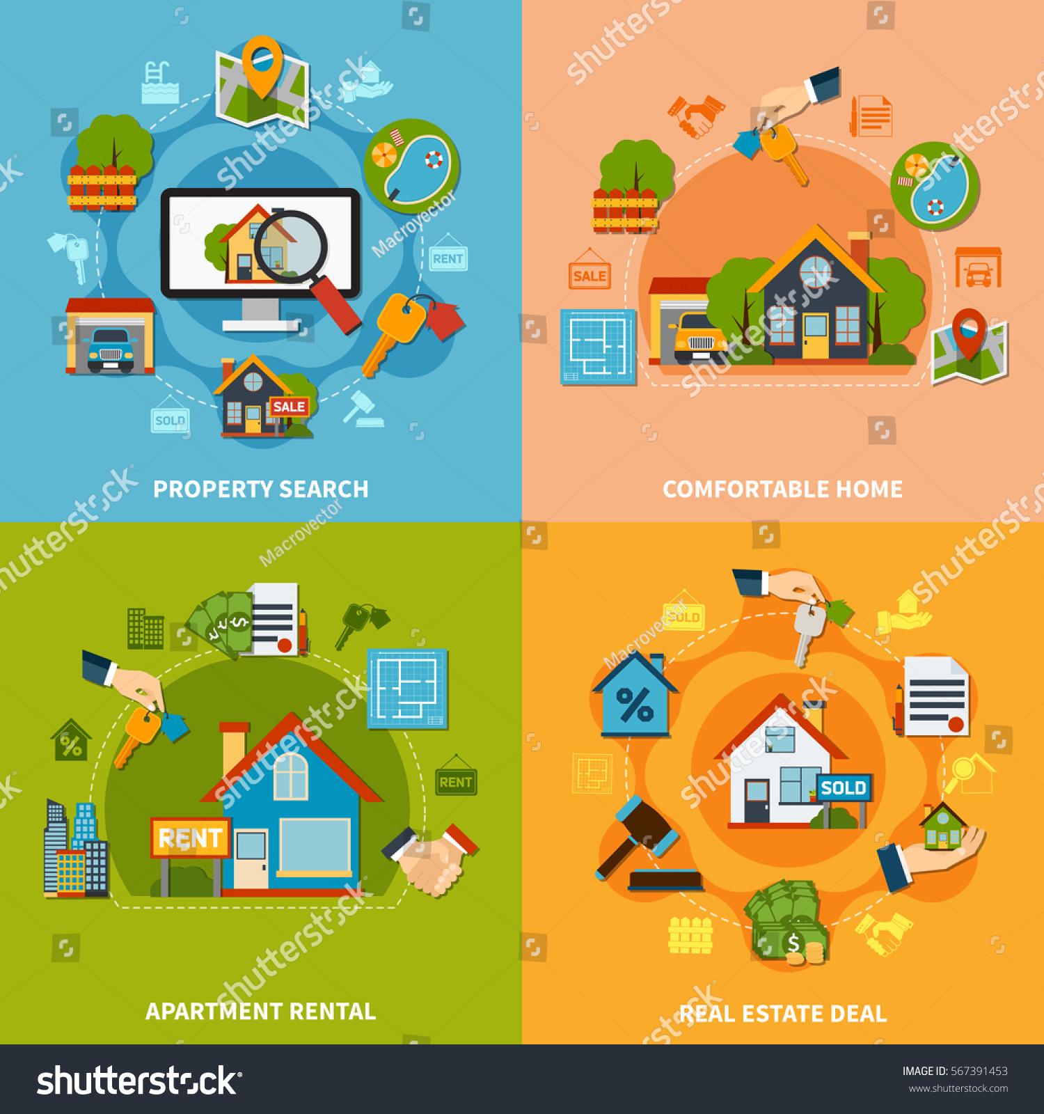 Rental Home Locator: Real Estate 2x2 Design Concept Property Stock Vector