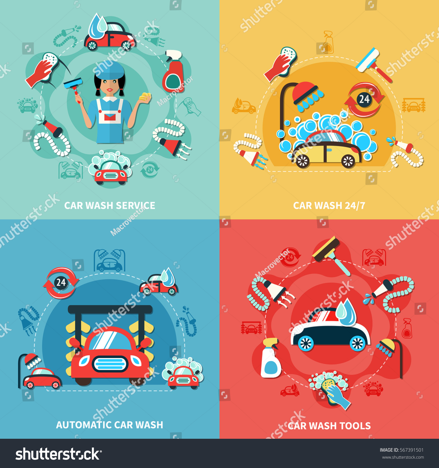 four square car wash 247 colorful compositions with cartoon cars cleaning agents and tools